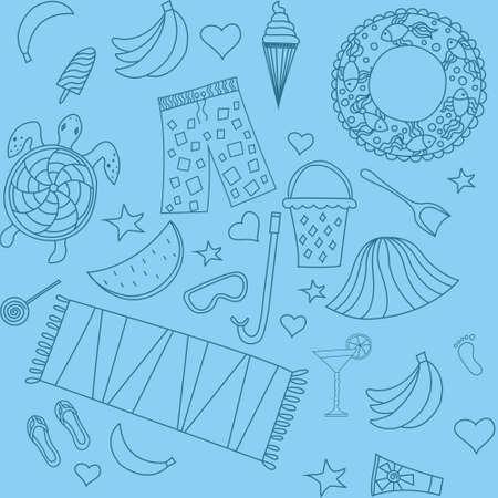 interesting: Interesting seamless pattern with beach Illustration