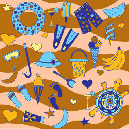 interesting: Interesting seamless pattern with beach Illustration