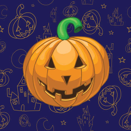halloween background: Halloween pumpkin on beautiful background Illustration