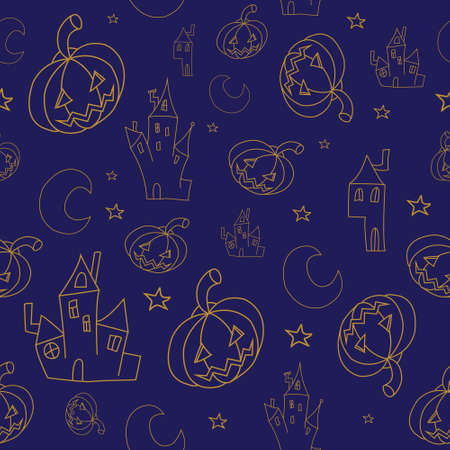 interesting: Interesting cartoon seamless halloween background