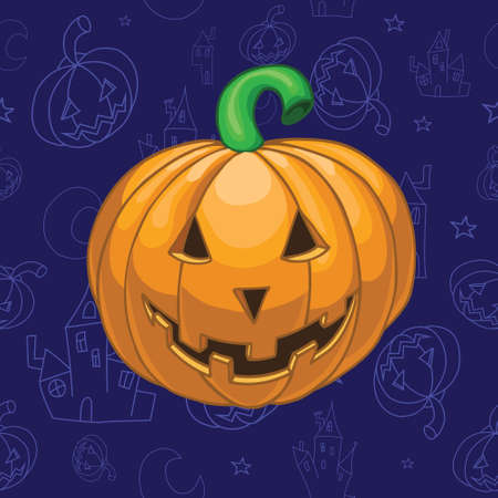halloween background: Pumpkin on beautiful halloween background