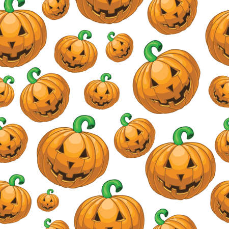 bugaboo: Seamless pattern with cartoon pumkins Illustration