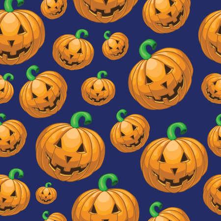 halloween pattern: Seamless halloween pattern with cartoon pumpkins