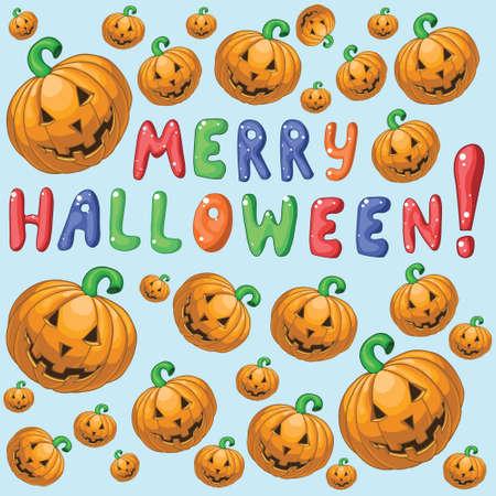 bugaboo: Greeting card with cartoon smiling pumpkins. Merry halloween. Illustration
