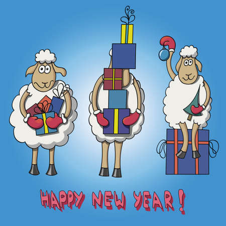 year of sheep: Card Happy New Year with cartoon sheep Illustration