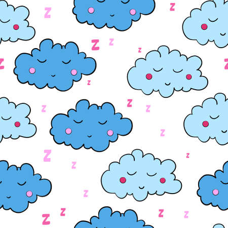 dreamer: Seamless pattern with cartoon sleeping clouds on white background. Can be used for wallpaper, pattern fills, greeting cards, webpage backgrounds, wrapping paper, scrap booking and textile or fabric. Vector illustration. EPS 10. Illustration
