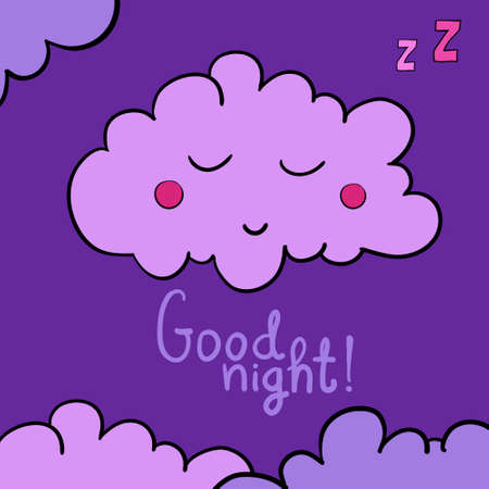lullaby: Cartoon sleeping cloud on violet background. Good night! Black frame. Vector illustration. EPS 10.