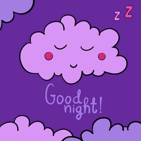 lullaby: Cartoon sleeping cloud on violet background. Good night! Black frame. Vector illustration. EPS 10.