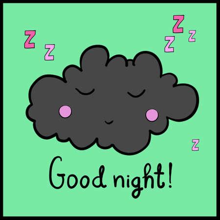 dreamer: Cartoon white sleeping cloud on green background. Good night! Black frame. Vector illustration. EPS 10.