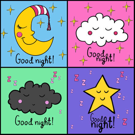 zzz: Set of images about sleeping. Good night! Sleeping smiling moon in striped cap, sleeping cloud with zzz. Sleeping smiling star with zzz. Illustration