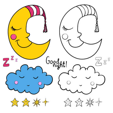zzz: Set of images about sleeping for coloring. Good night! Sleeping moon in striped cap, sleeping cloud, various of stars with faces.