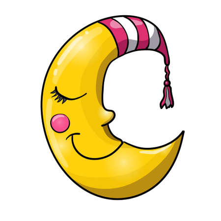 good evening: Cartoon sleeping moon in striped nightcap isolated on white background. Good night!