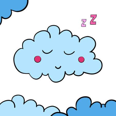 dreamer: Cartoon blue sleeping cloud on white background. Vector illustration. EPS 10.