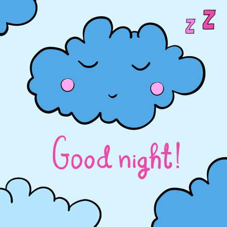 lullaby: Cartoon blue sleeping cloud on blue background. Vector illustration. EPS 10.
