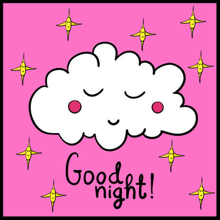 lullaby: Cartoon white sleeping cloud with stars on pink background. Good night! Black frame. Vector illustration. EPS 10. Illustration