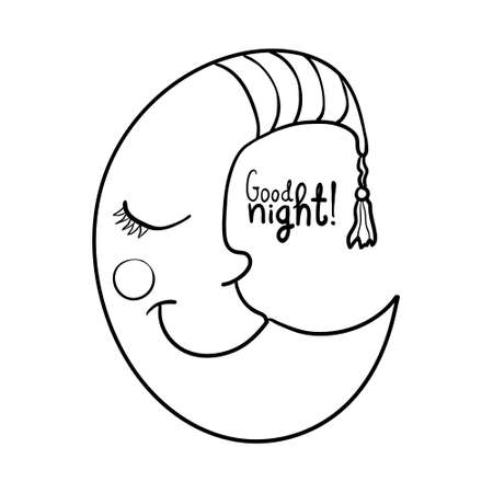nightcap: Cartoon sleeping moon in striped nightcap isolated on white background for coloring. Good night!