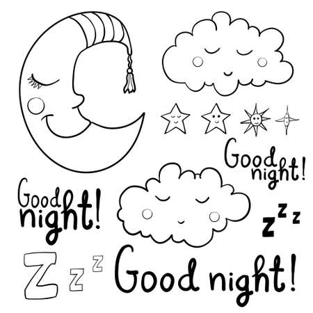 lullaby: Set of images about sleeping for coloring. Good night! Sleeping moon in striped cap, sleeping cloud, various of stars with faces.