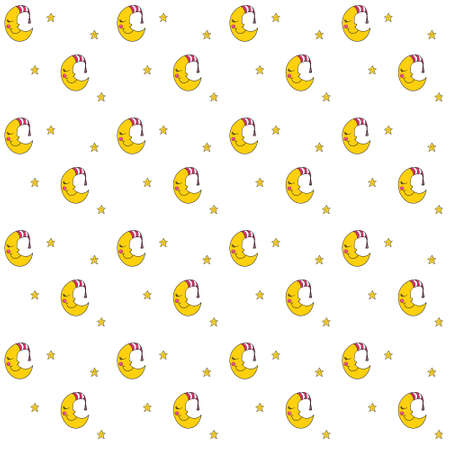dreamer: Seamless pattern with cartoon sleeping moon in striped cap and little stars. Good night! Can be used for wallpaper, pattern fills, greeting cards, webpage backgrounds, wrapping paper, scrap booking and textile or fabric. Vector illustration. EPS 10.
