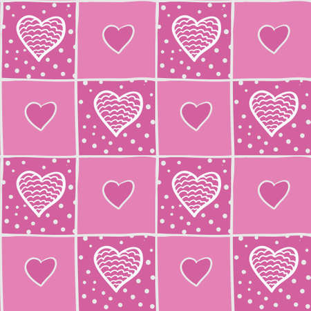 beguin: Seamless pink pattern with hearts. Can be used for wallpaper, pattern fills, greeting cards, webpage backgrounds, wrapping paper, scrap booking and textile or fabric. Vector illustration. EPS 10.