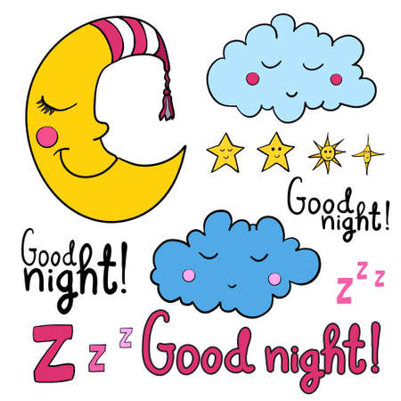 good evening: Set of images about sleeping for coloring. Good night! Sleeping moon in striped cap, sleeping cloud, ?arious of stars with faces.
