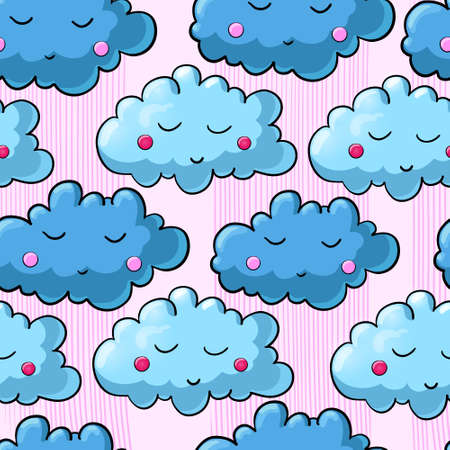 pink cap: Seamless pattern with cartoon sleeping moon, cloud and star. Good night! Can be used for wallpaper, pattern fills, greeting cards, wrapping paper, scrap booking and fabric. Vector illustration. EPS 10.