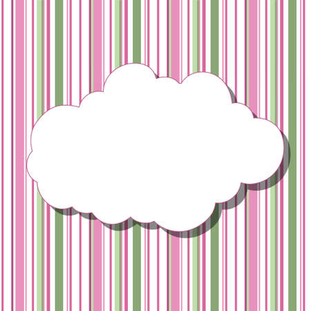 lullaby: Cartoon white cloud with shadow on striped colored background. Can be used for greeting cards, web pages design. Illustration