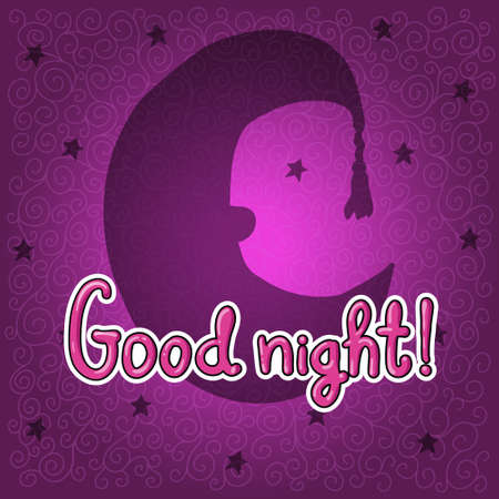 lullaby: Silhouette of half moon in night hat on magenta background.  Good night!