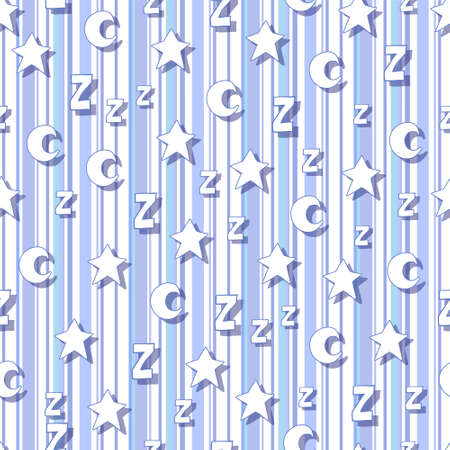 lullaby: Flat stars, moons and z with shadows on striped background. Can be used for wallpaper, web page backgrounds, wrapping paper, scrap booking and textile or fabric.