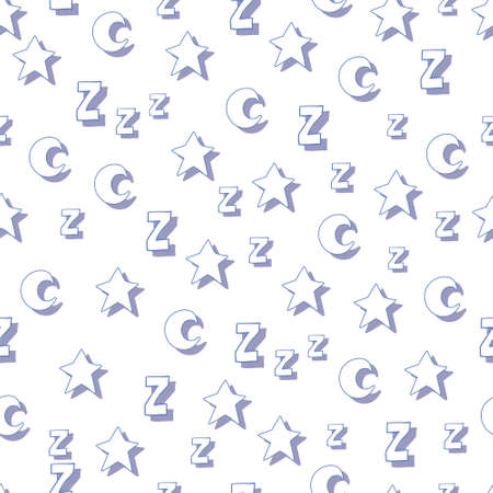 lullaby: Flat stars, moons and z with shadows on white background. Can be used for wallpaper, web page backgrounds, wrapping paper, scrap booking and textile or fabric.