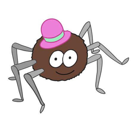 vermin: Cartoon cute spider in hat isolated on white background. Can be used for images about halloween.
