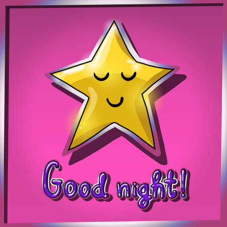 zzz: Cartoon yellow smiling and sleeping star on pink background. Good night! Vector illustration. EPS 10 Illustration