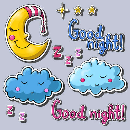 zzz: Set of cartoon images  about good night! Sleeping half moon in striped night cap, clouds, smiling stars, zzz.