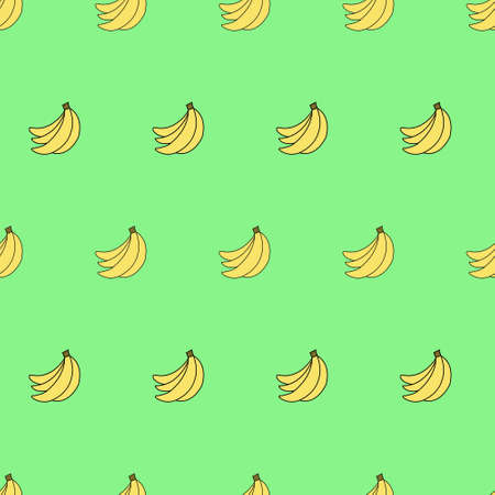 organic background: Seamless pattern with bananas on green background. Can be used for wallpaper, pattern fills, greeting cards, webpage backgrounds, wrapping paper, scrap booking and textile or fabric.