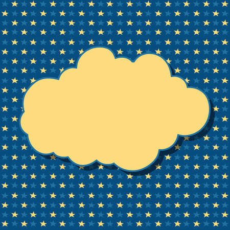 dreamer: Cartoon yellow cloud with shadow on blue background with stars. Can be used for greeting cards, web pages design.