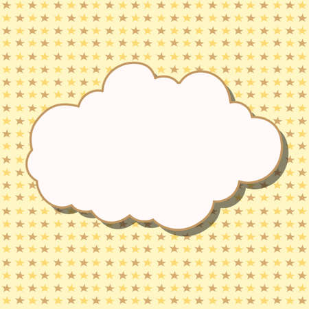 lullaby: Cartoon white cloud with shadow on yellow background with stars. Can be used for greeting cards, web pages design.