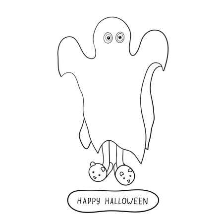 bugaboo: Cartoon ghost in badspread isolated on white background.  Can be used for coloring. Vector illustration.