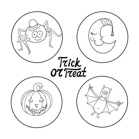 bugaboo: Set of halloween characters: spider in hat, smiling moon, pumpkin, bat isolated on white background. Trick or treat. Vector illustration. Illustration