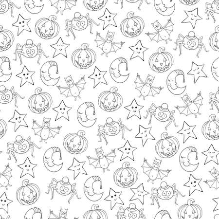bugaboo: Seamless halloween cartoon pattern with characters. Can be used for wallpaper, pattern fills, greeting cards, webpage backgrounds, wrapping paper, scrap booking and textile or fabric. Vector illustration.