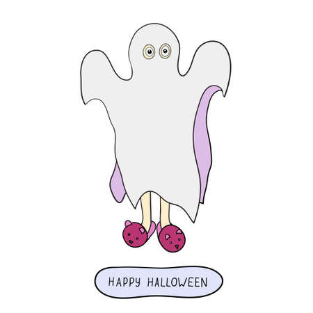 bogey: Cartoon ghost in badspread isolated on white background. Can be used for halloween greeting cards. Vector illustration. Illustration