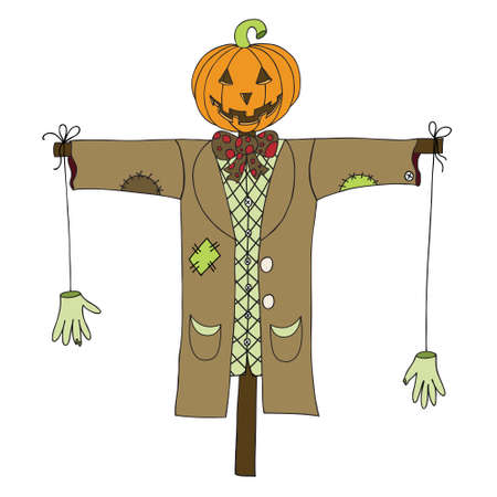 bugaboo: Scarecrow isolated on white background. Can be used for halloween greeting cards. Vector illustration. Illustration