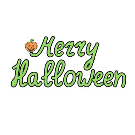 bugaboo: Greeting card with pumpkins and words  merry halloween isolated on white background. Vector illustration.