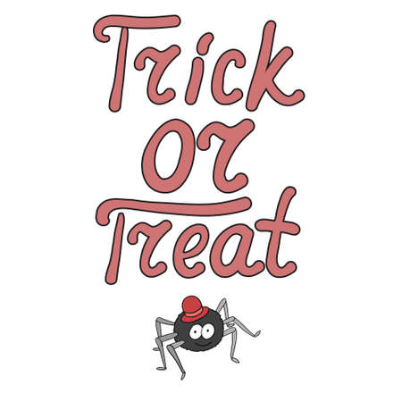 bugaboo: Cartoon word trick or treat and spider isolated on white background. Can be used for halloween greeting cards. Vector illustration.