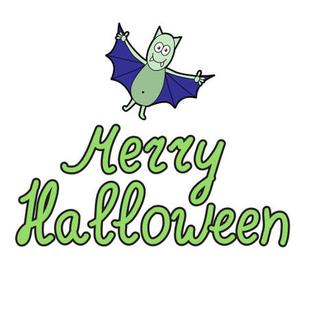bugaboo: Cartoon word merry halloween and cartoon bat on white background. Can be used for halloween greeting cards. Vector illustration. Illustration
