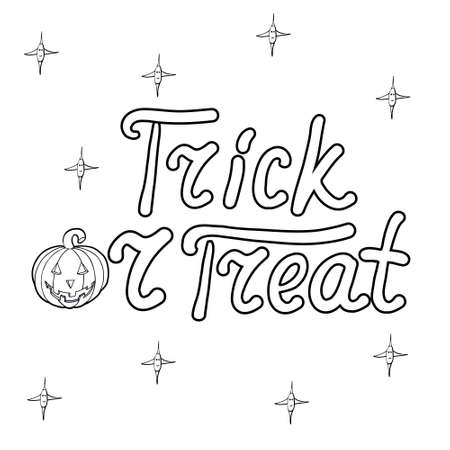 bugaboo: Cartoon word trick or treat and pumpkin isolated on white background. Can be used for halloween greeting cards. Vector illustration. Illustration