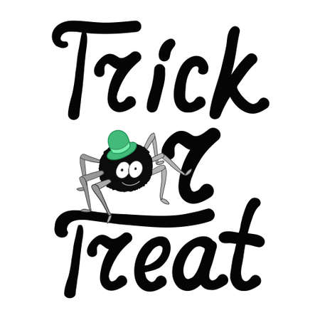 bugaboo: Cartoon black spider and word trick or treat isolated on white background. Can be used for halloween greeting cards. Vector illustration.