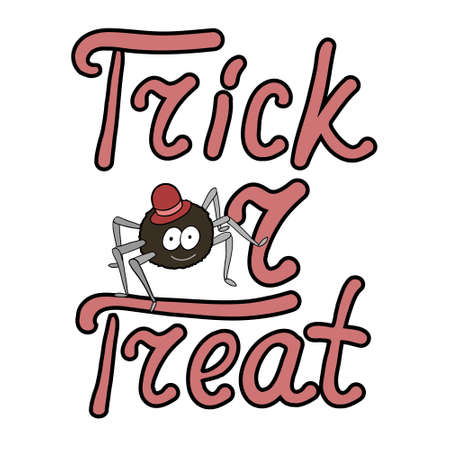 bugaboo: Cartoon spider and words trick or treat isolated on white background. Can be used for halloween greeting cards. Vector illustration.