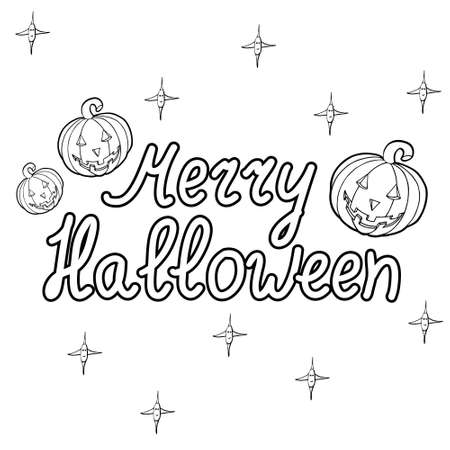 bugaboo: Cartoon pumpkins words merry halloween isolated on white background. Can be used for halloween greeting cards. Vector illustration.