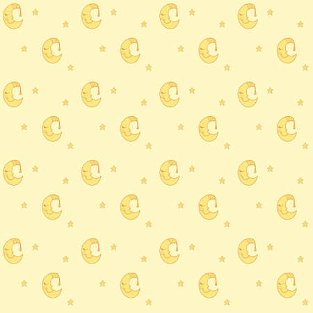 pink cap: Seamless pattern with cartoon sleeping moon in striped cap and little stars. Good night! Can be used for wallpaper, pattern fills, greeting cards, webpage backgrounds, wrapping paper, scrap booking and textile or fabric. Vector illustration. Illustration