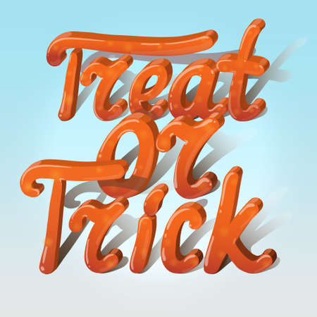 bugaboo: Cartoon volumetric words trick or treat  on gradient background. Can be used for halloween greeting cards. Vector illustration.