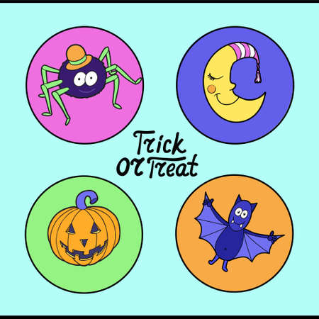 bugaboo: Set of halloween characters: spider in hat, smiling moon, pumpkin, bat. Trick or treat. Vector illustration.
